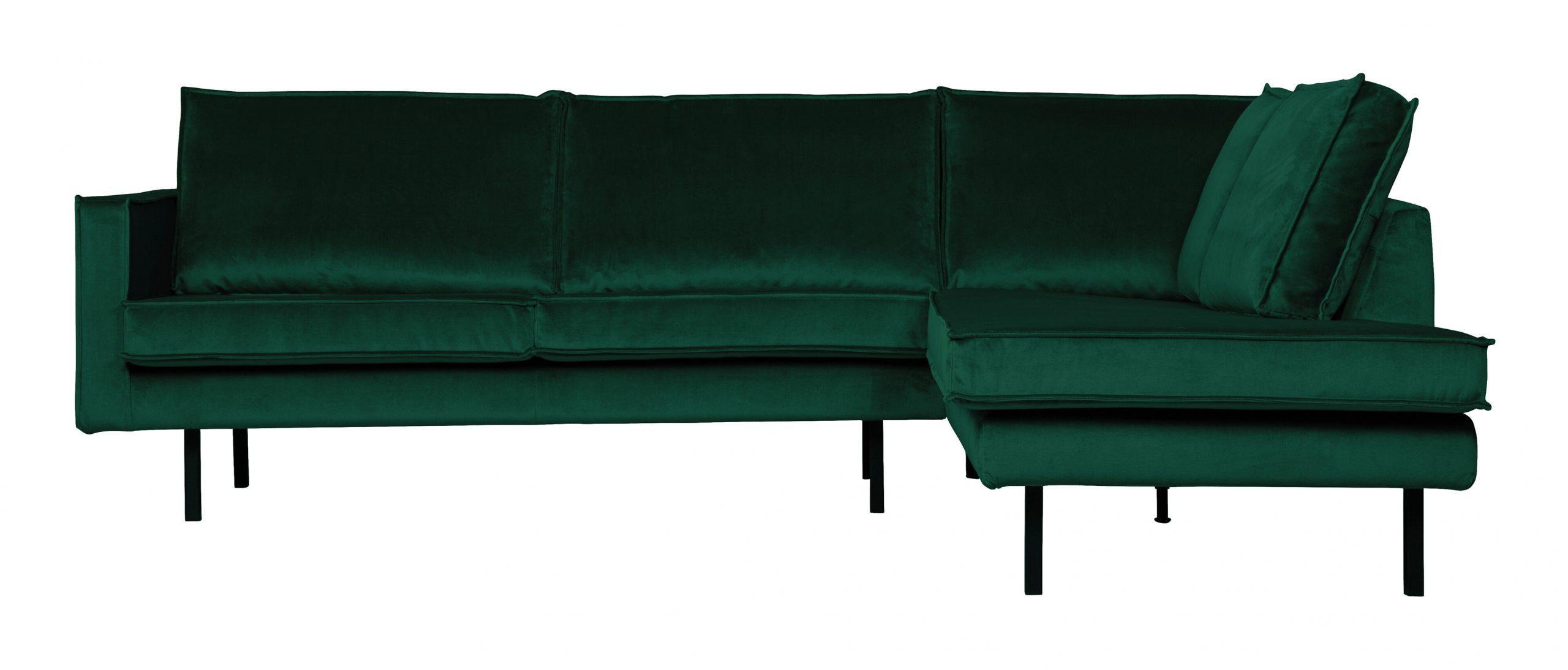BePureHome Hoekbank 'Rodeo' Rechts, Velvet, kleur Green Forest   BePureHome