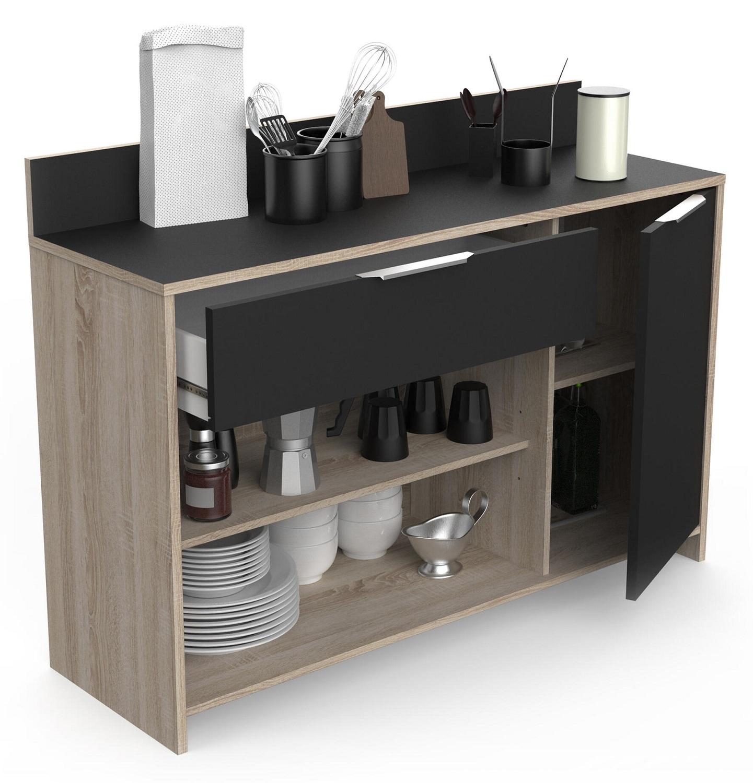 Keukenkast Mika 123 cm breed in bruto eiken met zwart | Young Furniture