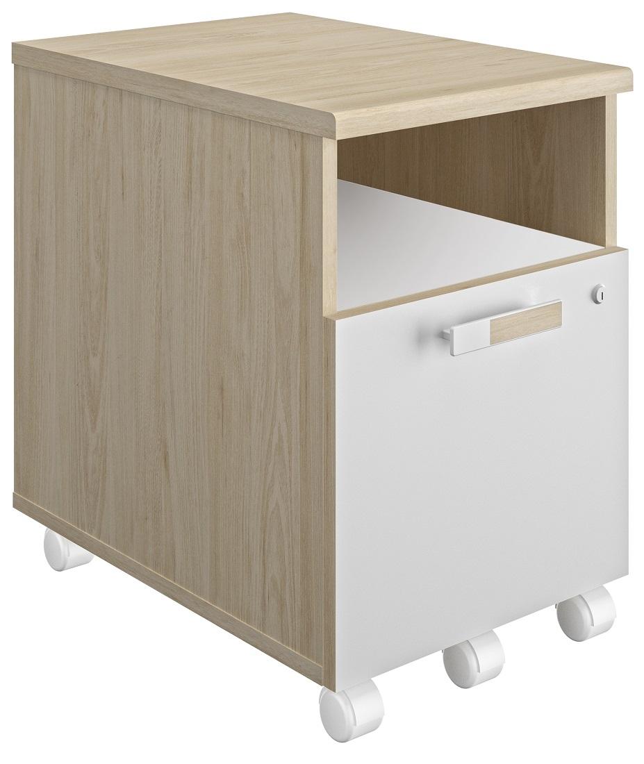Ladeblok Artefact 1 van 62 cm hoog in eiken met wit | Gamillo Furniture