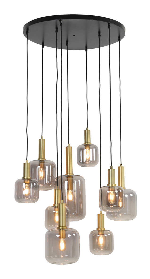 Light & Living Hanglamp 'Lekar' 9-Lamps, kleur Antiek Brons/Smoke   Light & Living