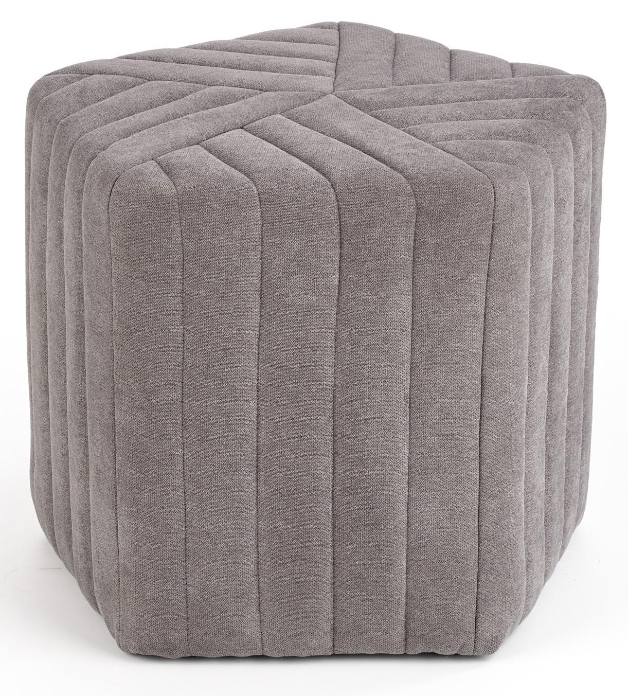 Poef Hexa small 40 cm hoog in grijs | Home Style