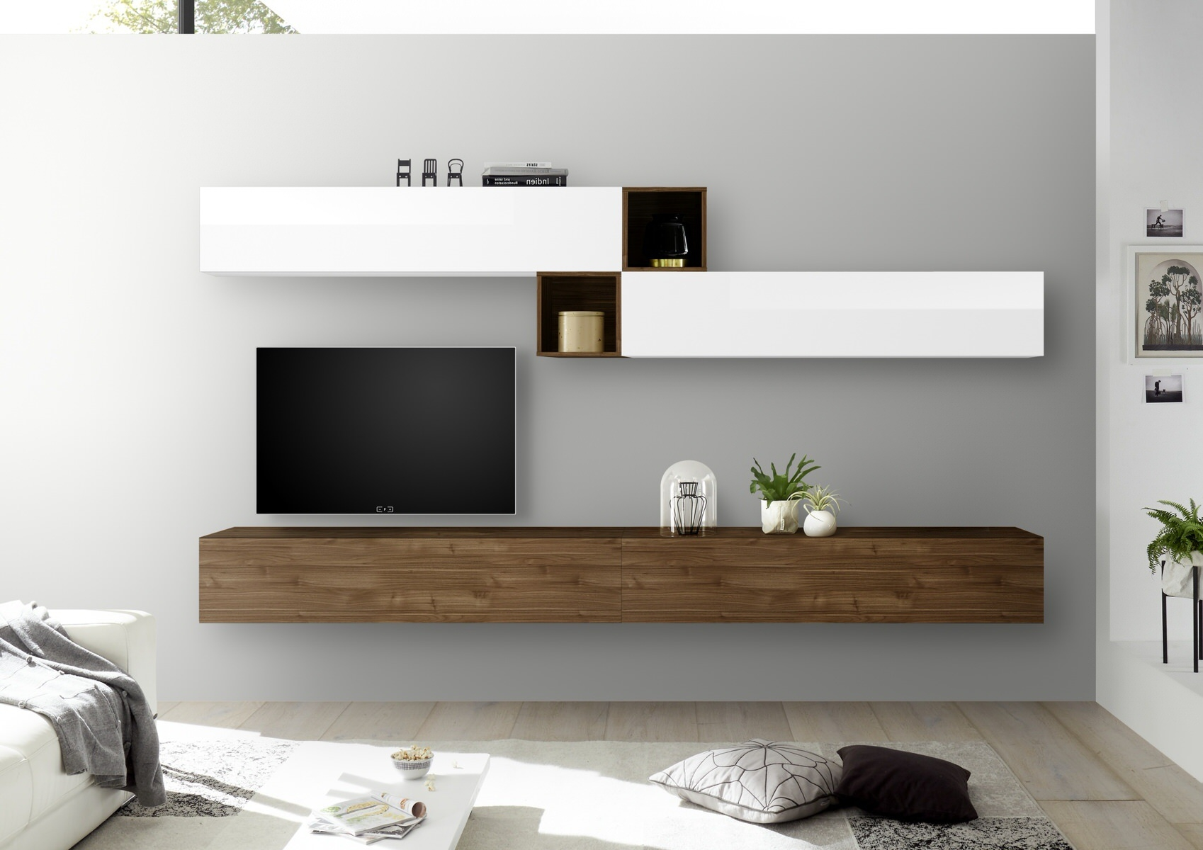 TV-wandmeubel set Anya in hoogglans wit met walnoot | Pesaro Mobilia