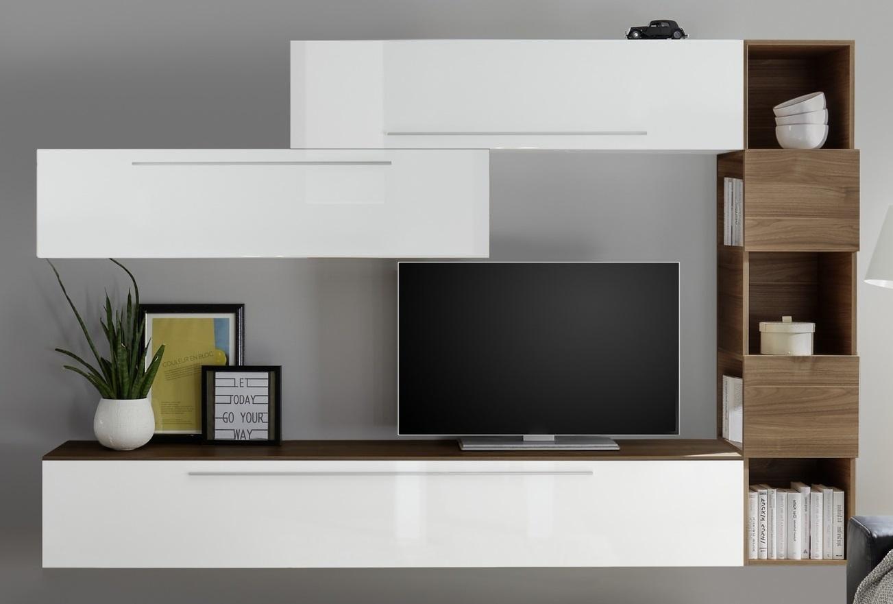 TV-wandmeubel set Vika in hoogglans wit met walnoot | Pesaro Mobilia