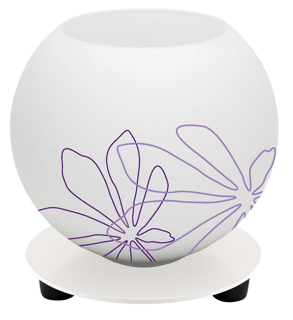 Tafellamp Motief 14 cm hoog in wit met violet bloemmotief | Brilliant