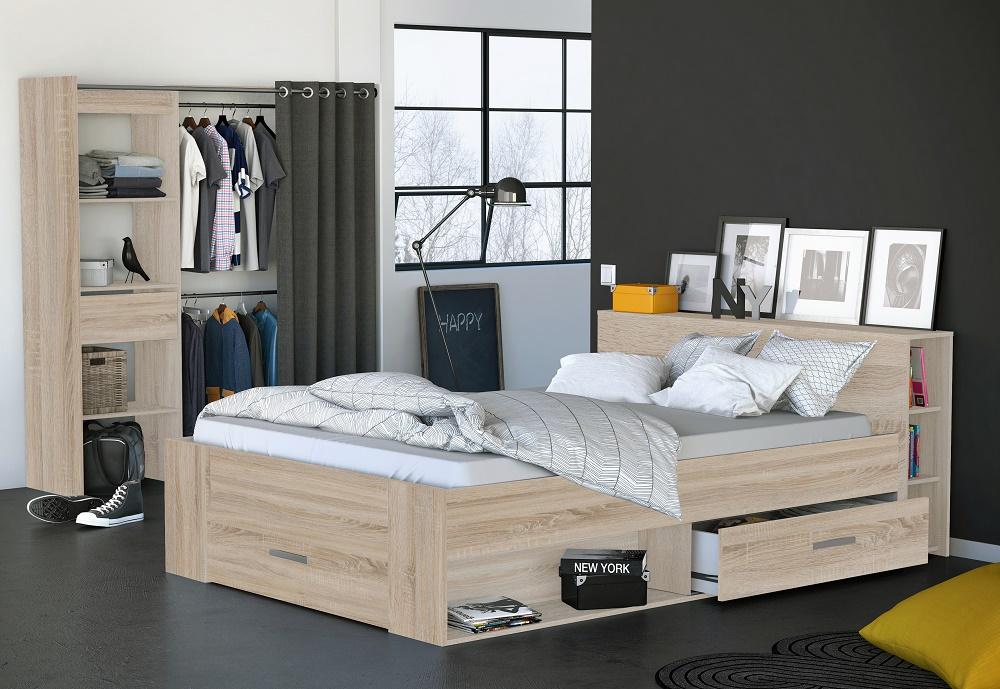 Tweepersoonsbed Pocket 160x200cm – Geborsteld eiken | Young Furniture